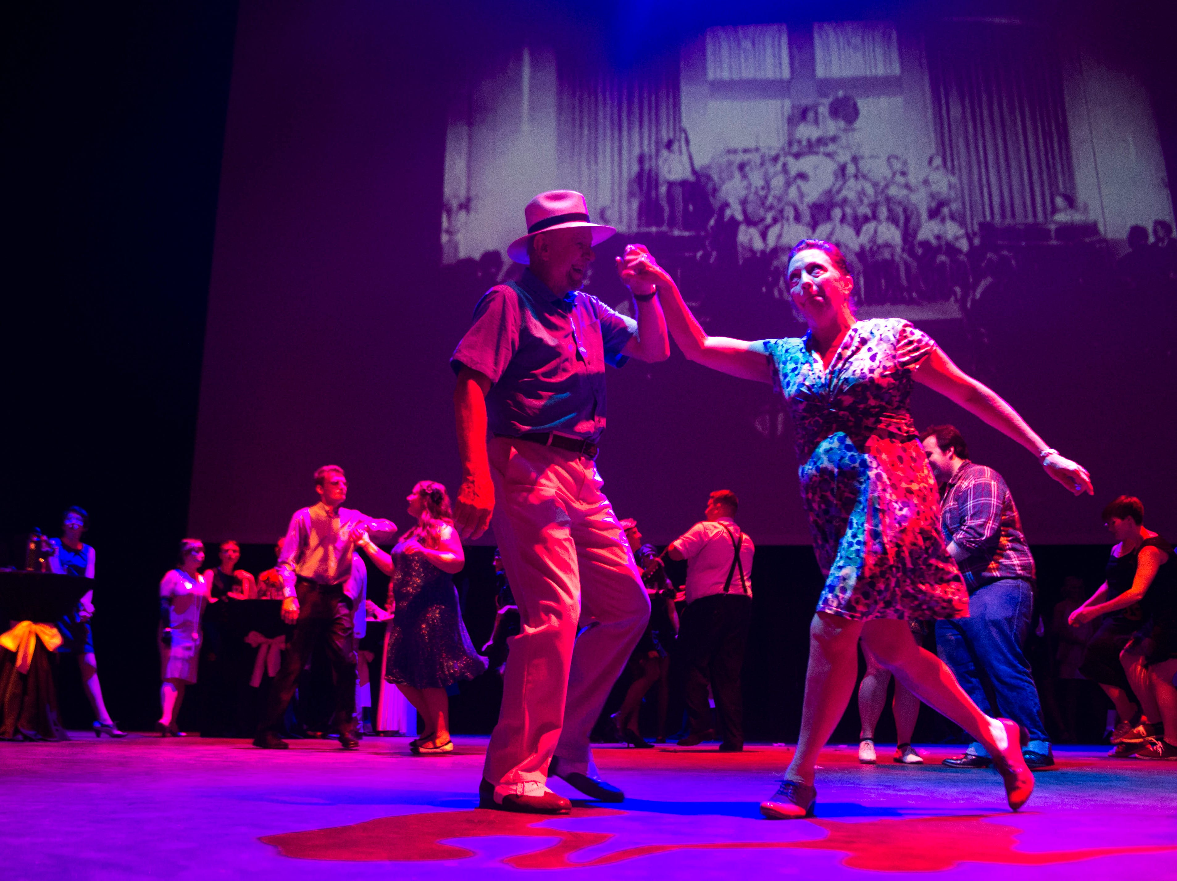Attendees dance at a Speakeasy celebrating the 90th anniversary of the Tennessee Theatre Saturday  29, 2018.