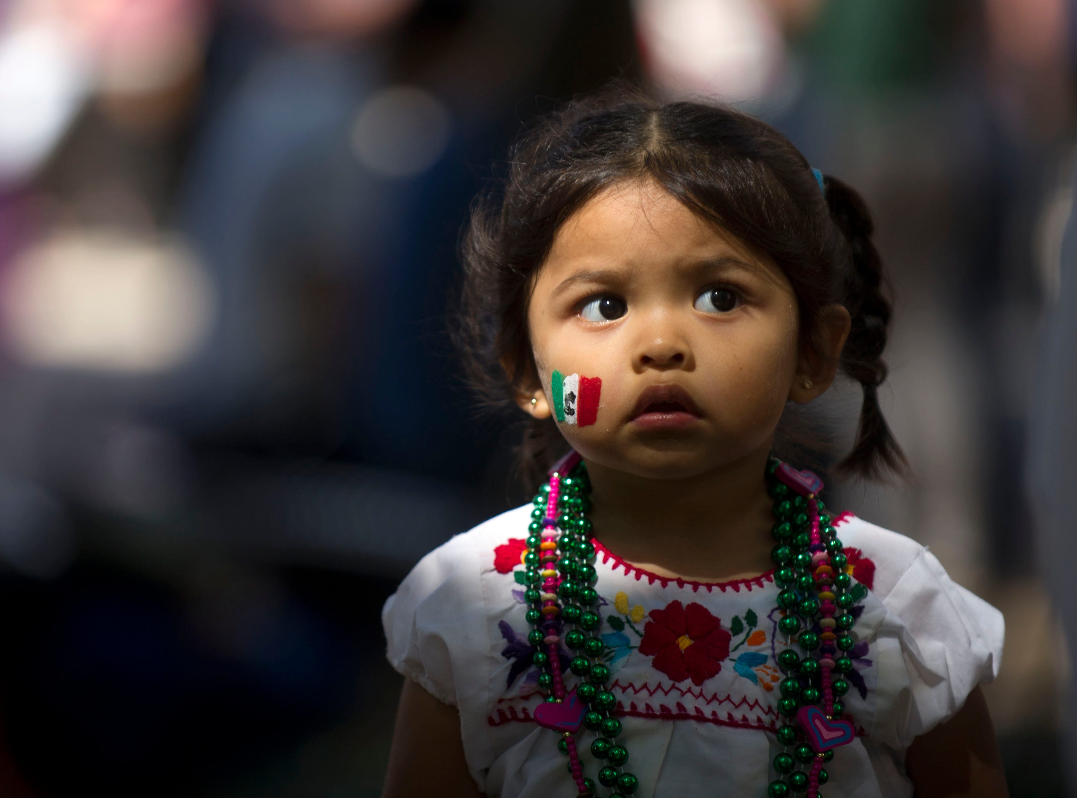 The flag of Mexico decorates Nicole De Arcos' cheek during the HoLa Festival at Market Square on Sunday, September 22, 2013