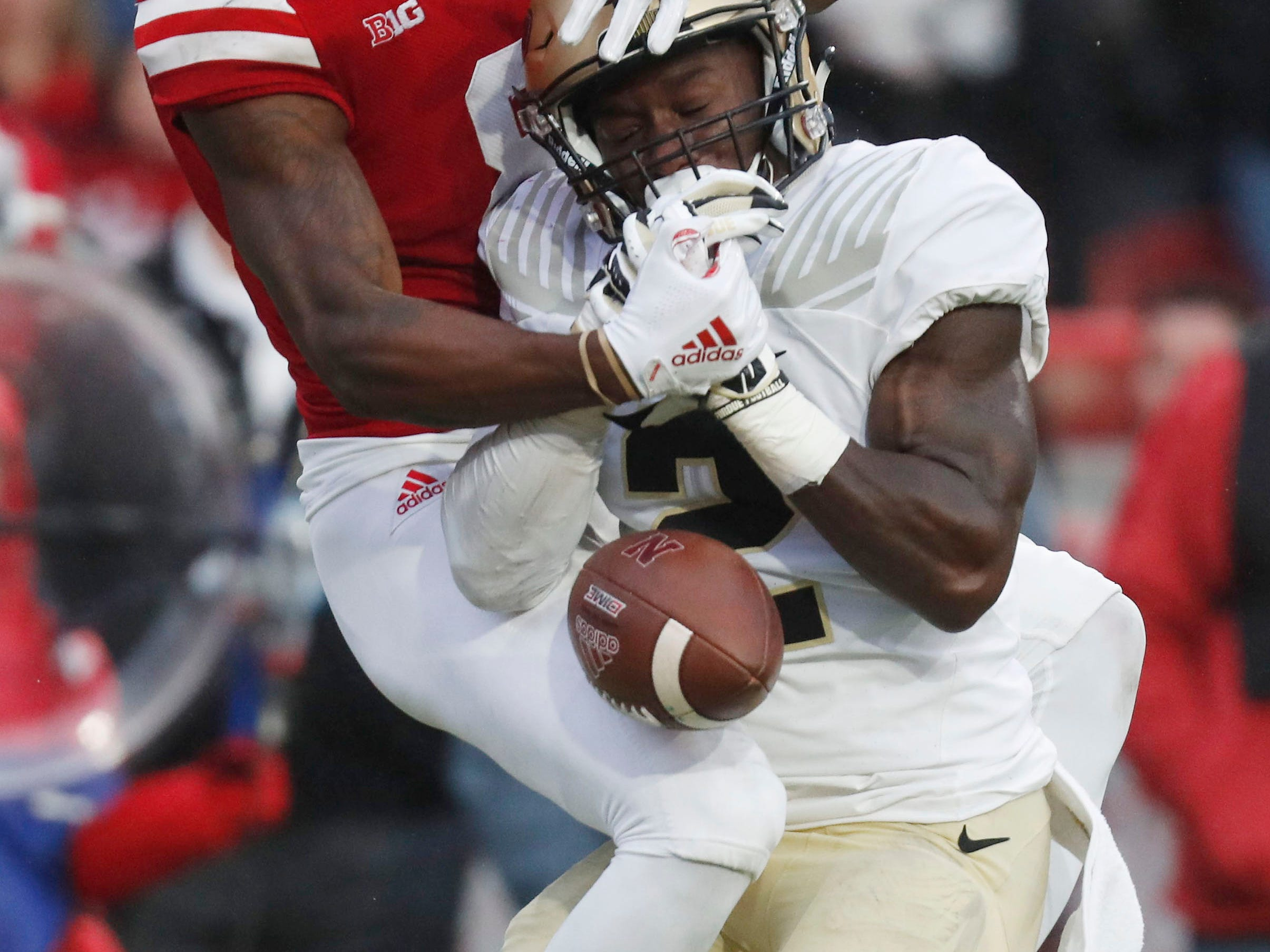 Sep 29, 2018; Lincoln, NE, USA; Purdue Boilermakers cornerback Kenneth Major (2) breaks up a pass in the end zone intended for Nebraska Cornhuskers wide receiver Stanley Morgan Jr. (8) in the second half at Memorial Stadium. Purdue won 42-28. Mandatory Credit: Bruce Thorson-USA TODAY Sports