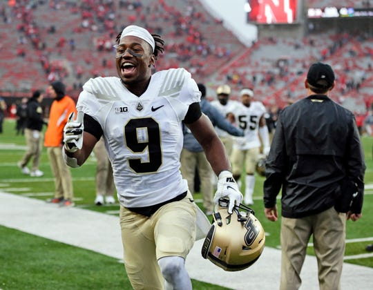 Purdue wide receiver Terry Wright (9) celebrates as he leaves the field following an NCAA college football game against Nebraska in Lincoln, Neb., Saturday, Sept. 29, 2018. Purdue won 42-28. (AP Photo/Nati Harnik)