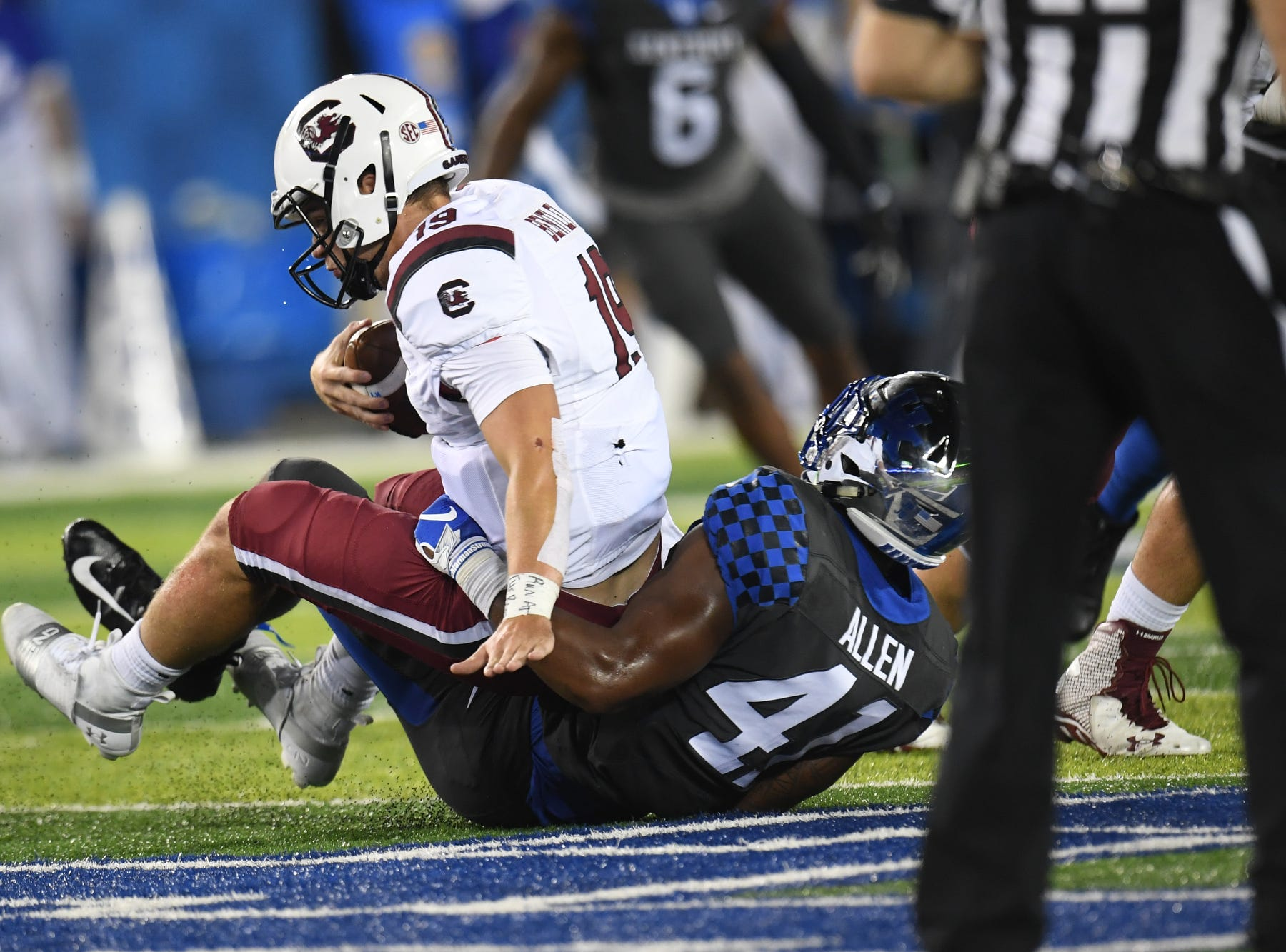 UK DE Josh Allen sacks USC QB Jake Bentley during the University of Kentucky football game against South Carolina at Kroger Field in Lexington, Kentucky on Saturday, September 29, 2018.