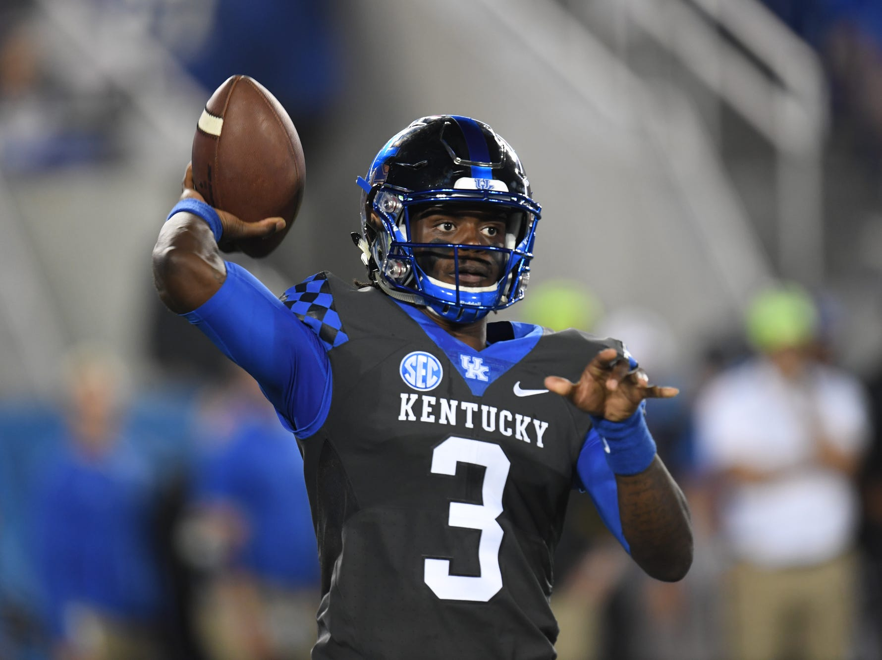 UK QB Terry Wilson passes during the University of Kentucky football game against South Carolina at Kroger Field in Lexington, Kentucky on Saturday, September 29, 2018.