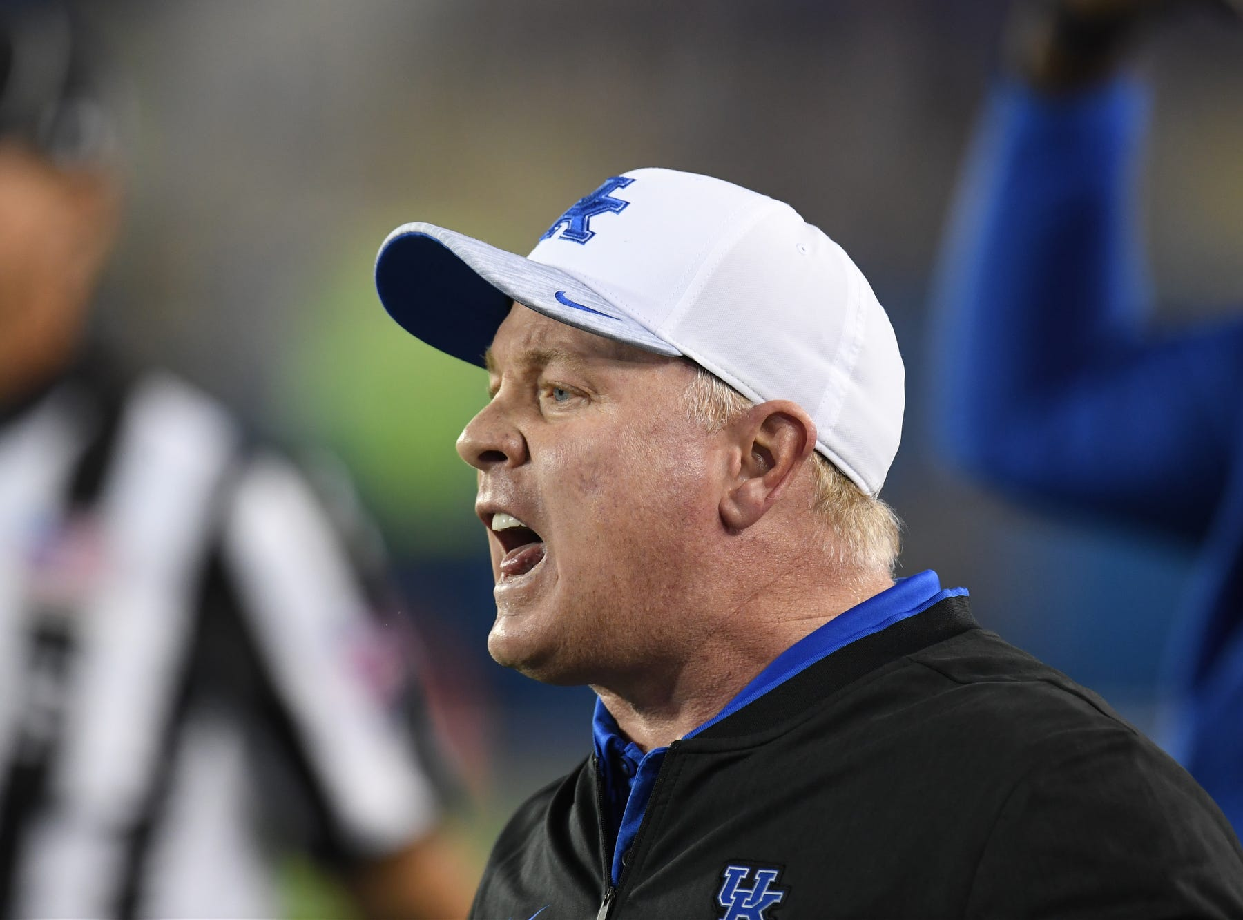 UK head coach Mark Stoops during the University of Kentucky football game against South Carolina at Kroger Field in Lexington, Kentucky on Saturday, September 29, 2018.