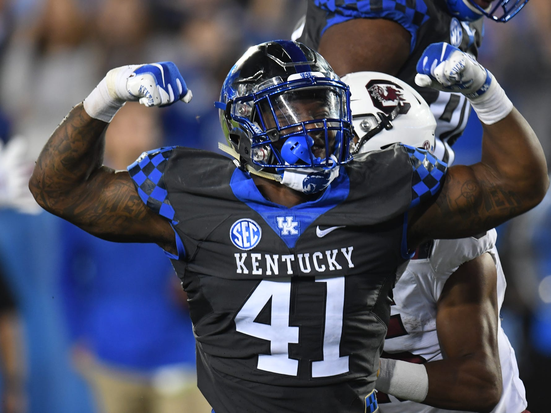 UK DE Josh Allen celebrates during the University of Kentucky football game against South Carolina at Kroger Field in Lexington, Kentucky on Saturday, September 29, 2018.