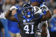 Josh Allen celebrates during UK's win over South Carolina.