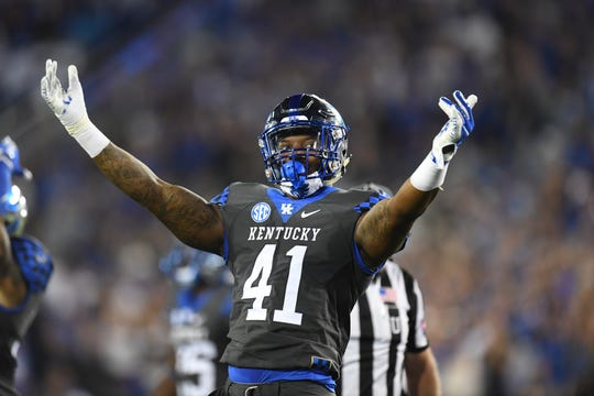 UK DE Josh Allen pumps up the crowd during the University of Kentucky football game against South Carolina at Kroger Field in Lexington, Kentucky on Saturday, September 29, 2018.