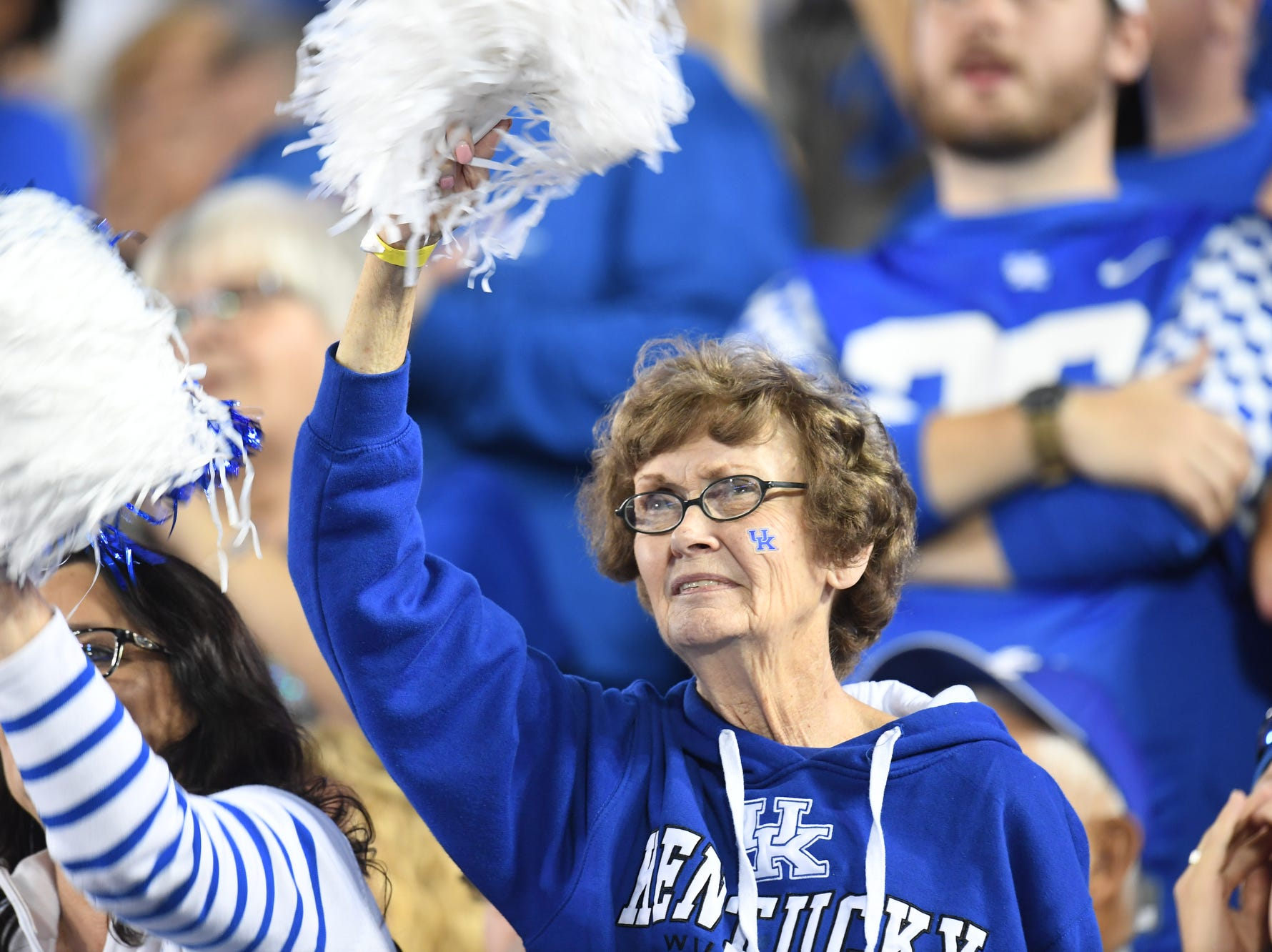 UK fan during the University of Kentucky football game against South Carolina at Kroger Field in Lexington, Kentucky on Saturday, September 29, 2018.