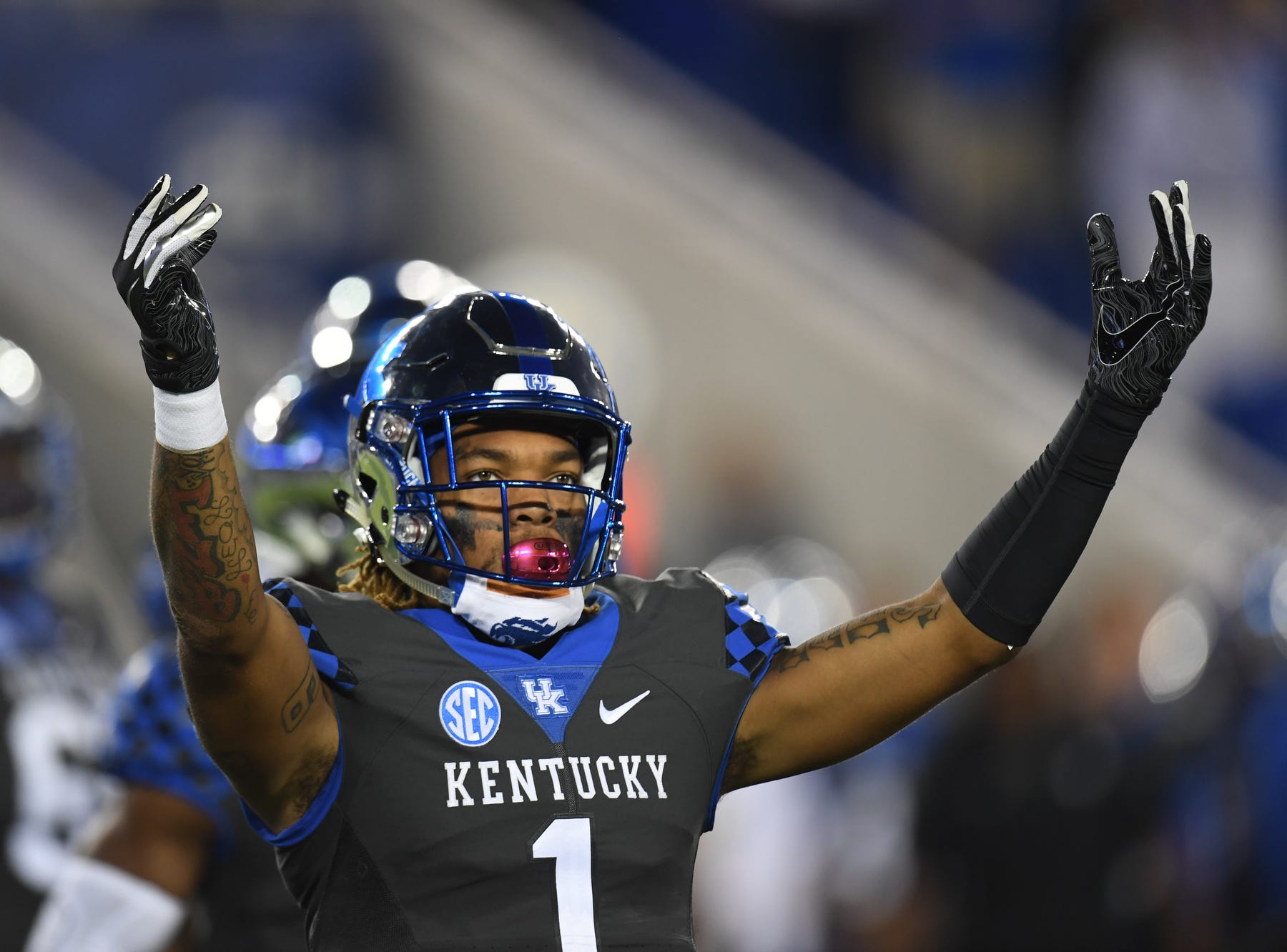 UK WR Lynn Bowden, Jr. during the University of Kentucky football game against South Carolina at Kroger Field in Lexington, Kentucky on Saturday, September 29, 2018.