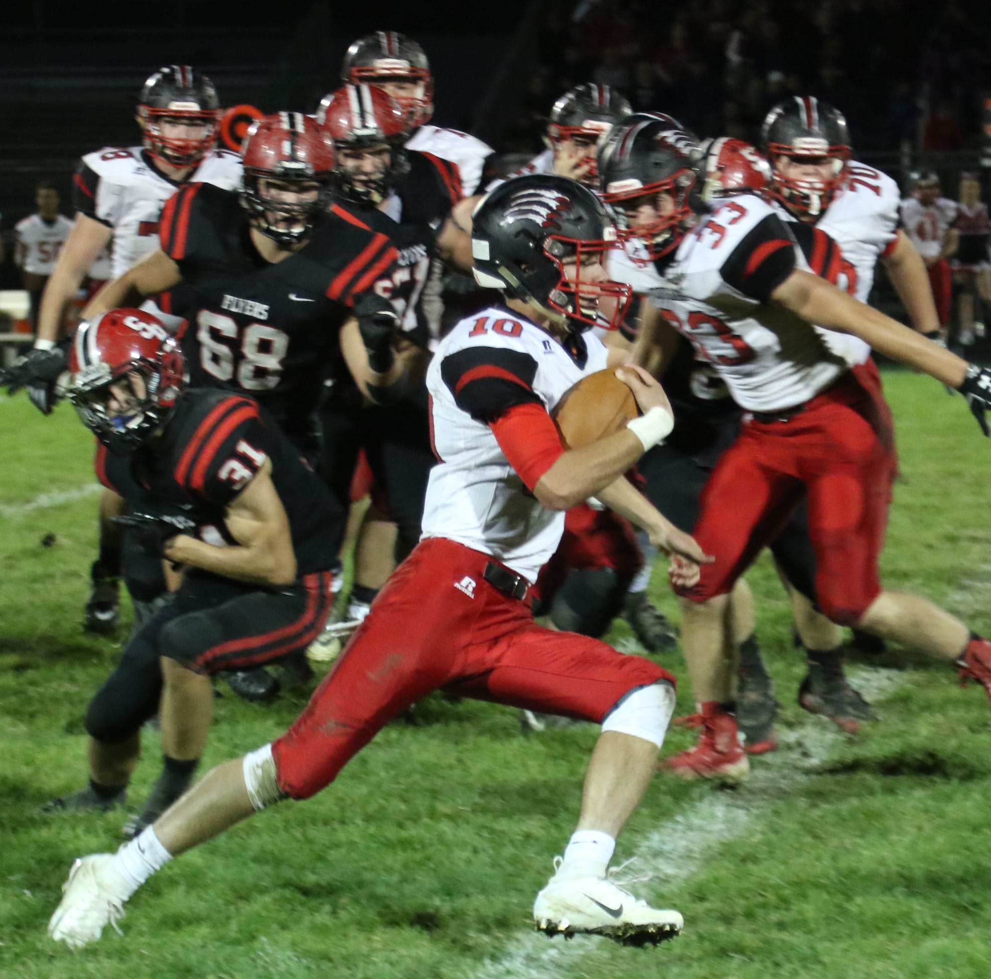 The Crestview Cougars football team played at Norwalk St. Paul on Saturday evening.