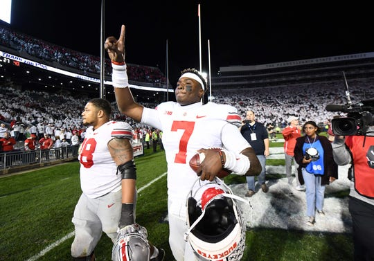 Ohio State quarterback Dwayne Haskins reacts as the Buckeyes leave the field with a 27-26 win at Penn State.