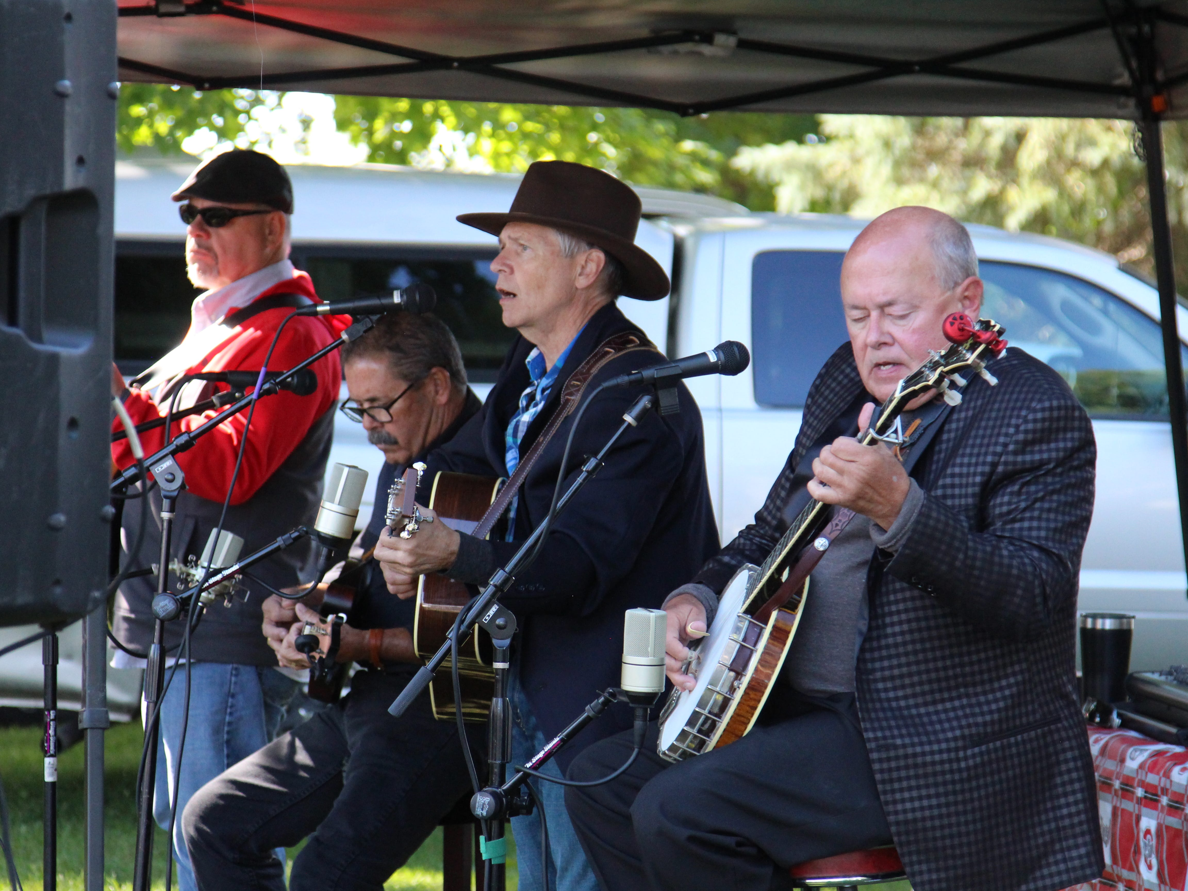 The local gospel/bluegrass band Grail plays at Applefest. The annual festival was Saturday at Lawrence Orchards.