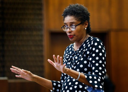 Defense attorney Darla Palmer presents closing arguments on the sixth day of the retrial of Quinton Tellis in Batesville, Mississippi on Sunday, September 30, 2018. Tellis is charged with burning 19-year-old Jessica Chambers to death almost three years ago on Dec. 6, 2014. Tellis has pleaded not guilty to the murder.