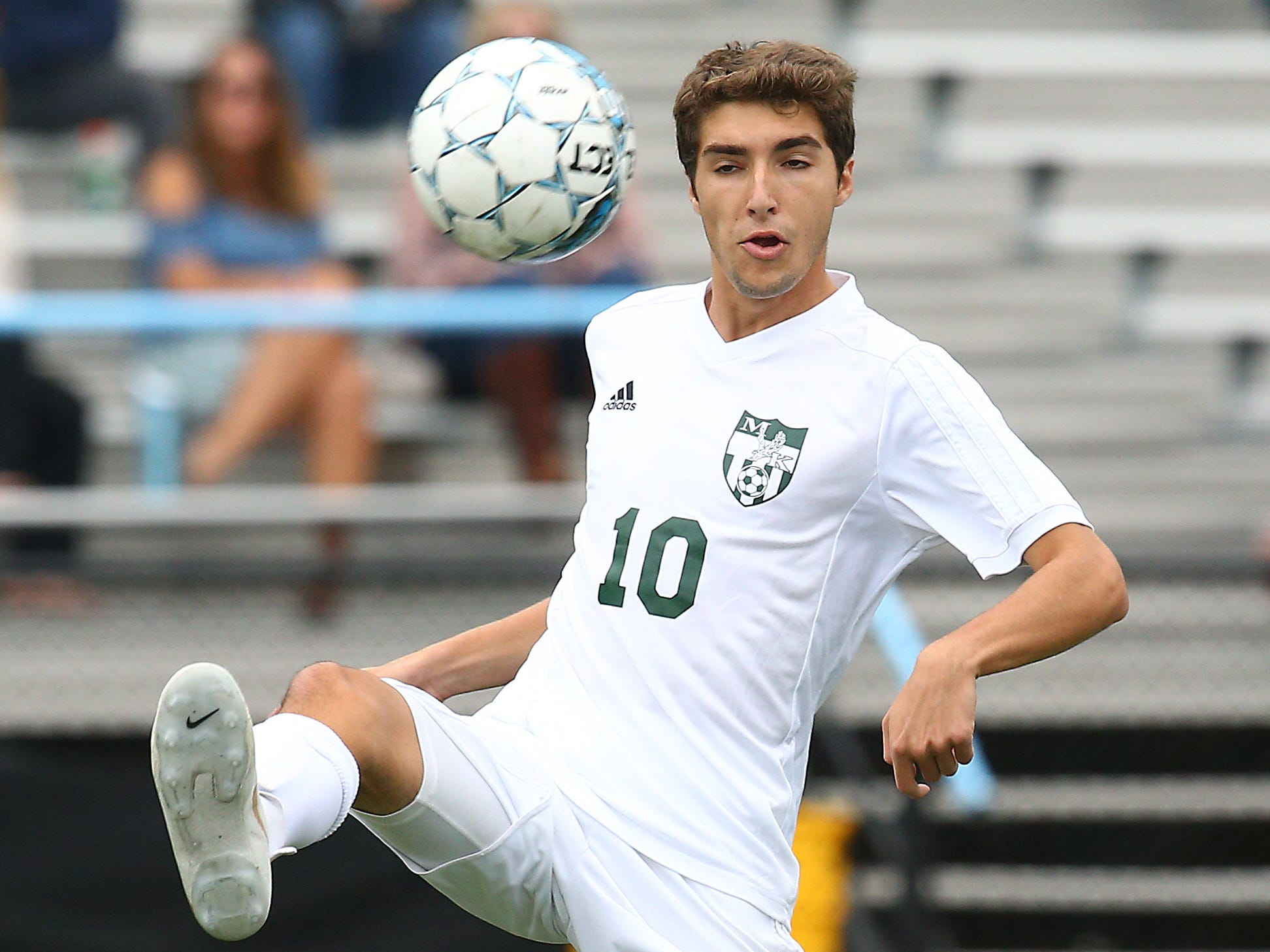 Morris Knolls senior Tommy Scalici vs. Parsippany Hills during their boys soccer match. September 27, 2018, Parsippany, NJ