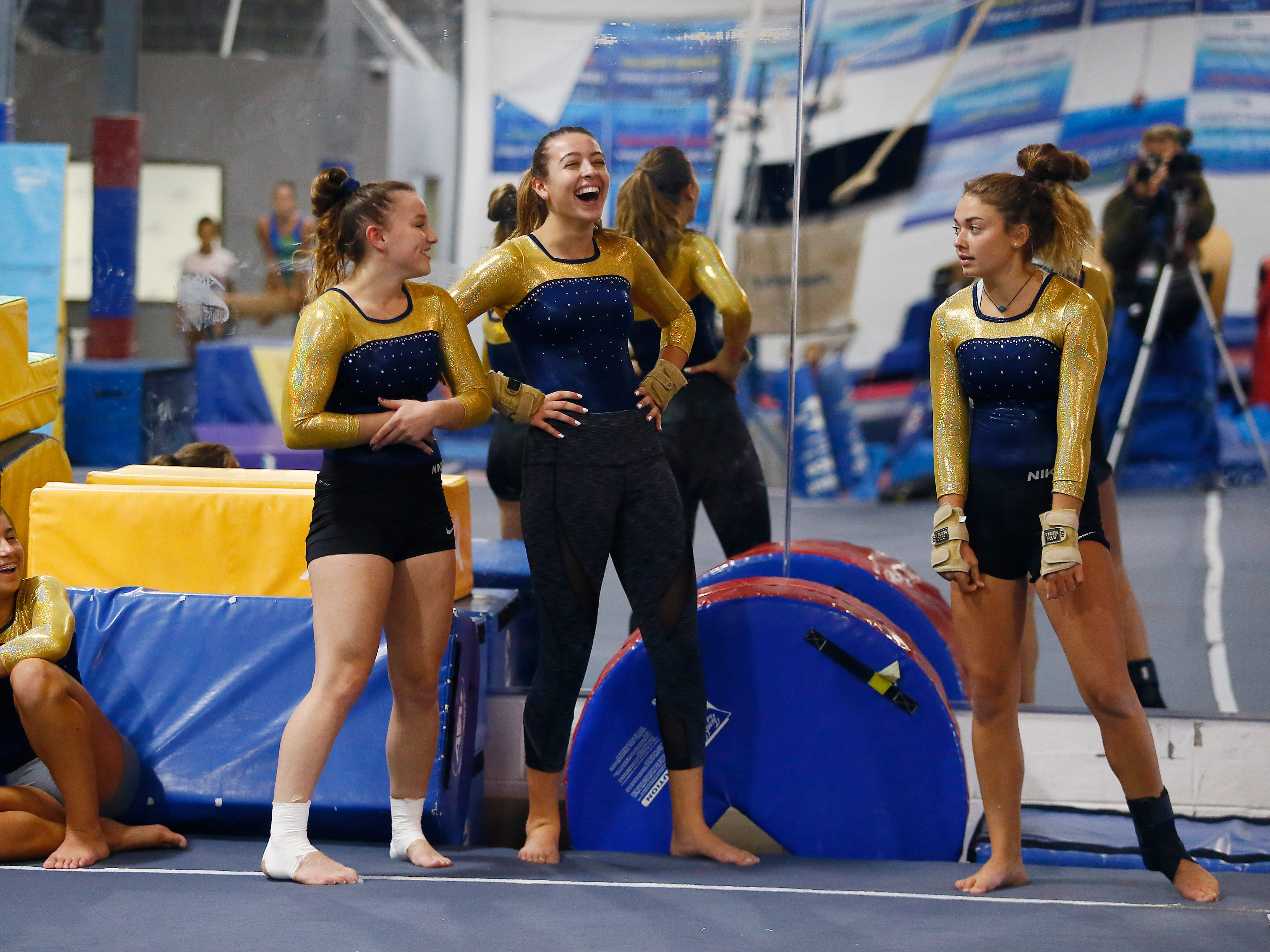 Morgan Valdes, l, Tiffany Zieba, Nicole Arevalo and Ashley Miller share a laugh during gymnastics practice at Northern Elite Gymnastics & Cheer in Flanders.  Roxbury High School has just launched a girls gymnastics team. September 25, 2018, Flanders, NJ