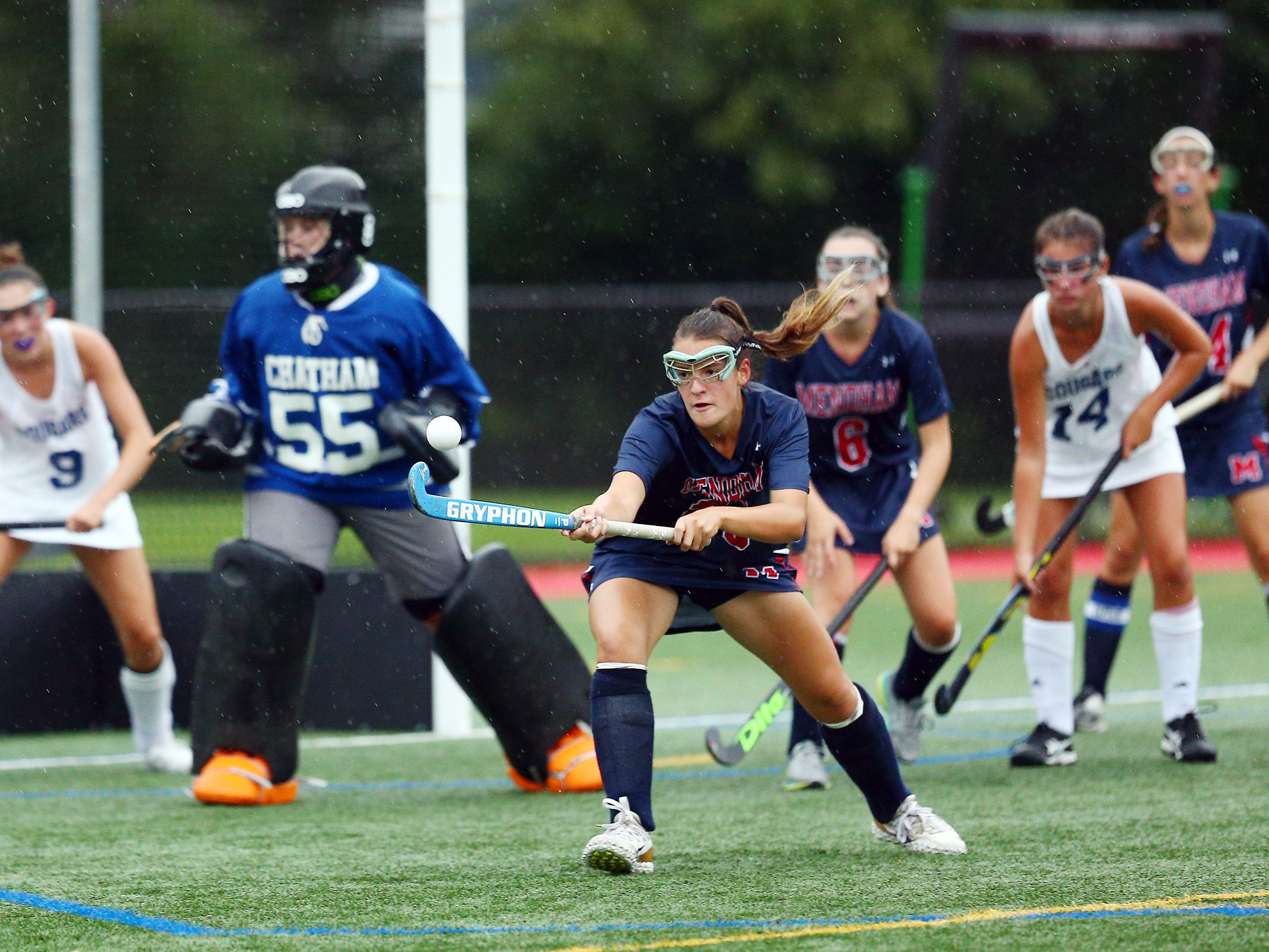 Mendham's Lilly Weeks reaches for the ball vs. Chatham NJAC-American field hockey game at Haas Field in Chatham. September 12, 2018, Chatham, NJ