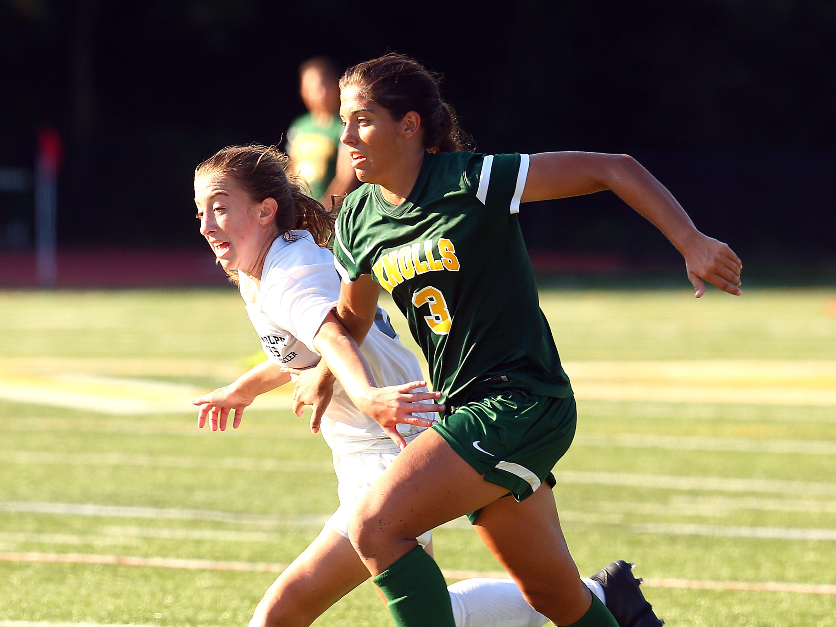 Randolph's Brenna McConnell and Morris Knolls Maddison Perna  battle for the ball in a NJAC-American girls soccer season opener. Morris Knolls coach Stephan Zdanowicz got her 200th career victory in the 2-0 win at home. September 5, 2018, Denville, NJ