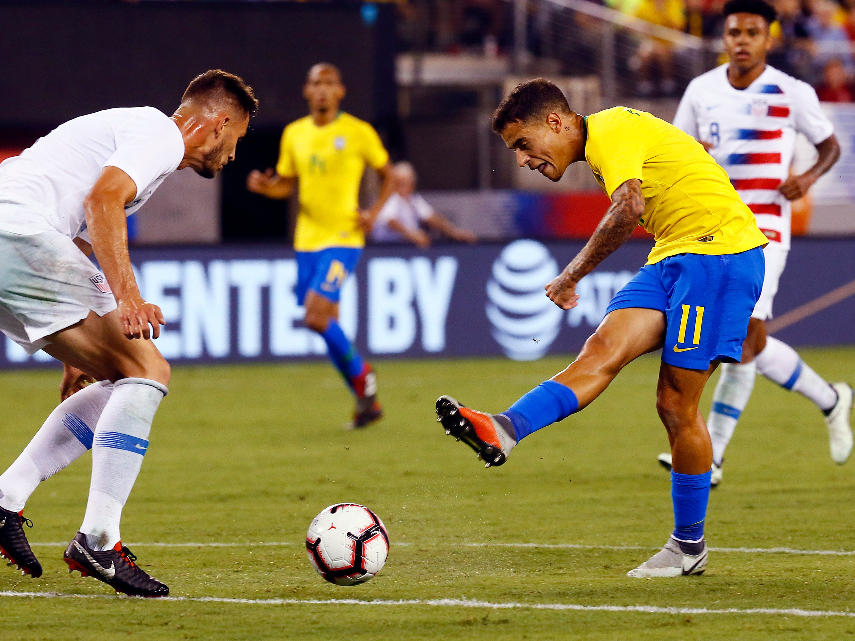 Brazil's Philippe Coutinho takes a shot on goal vs. the U.S. Men's National Team during their international friendly at MetLife Stadium in East Rutherford, N.J. The US was defeated 2-0 by the five-time World Cup champions. September 7, 2018, East Rutherford, NJ