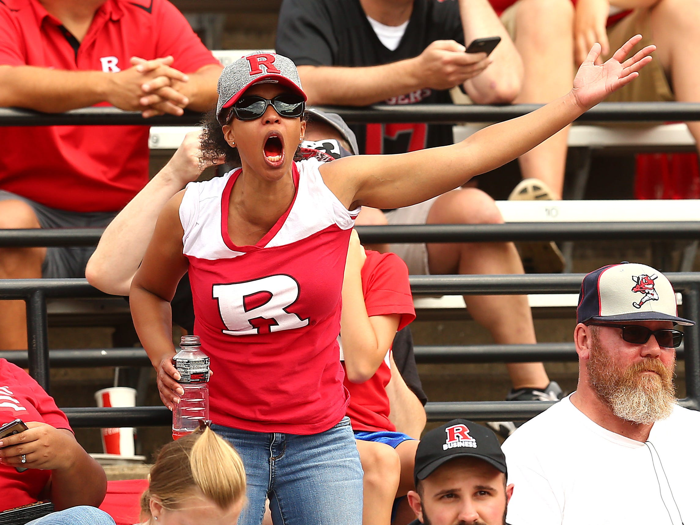 A Rutgers Scarlet Knights fan upset at a huge gain by the Buffalo Bulls at HighPoint.com Stadium in Piscataway. September 22, 2018, Piscataway, NJ