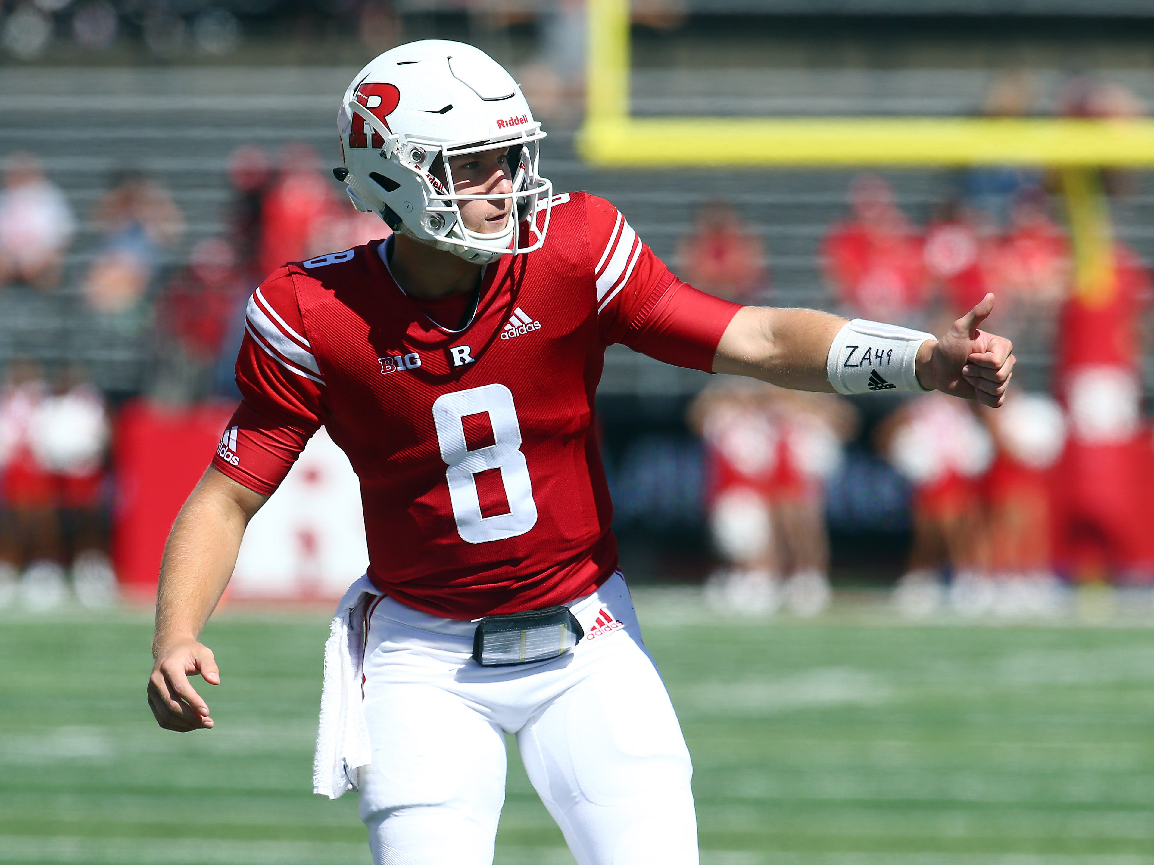 Rutgers quarterback Artur Sitkowski wears the initials and number of friend former Old Bridge High School baseball star, Florida State U. signee Zach Attianese. Attianese and his father killed in a six-vehicle crash in Michigan in June. September 22, 2018, Piscataway, NJ
