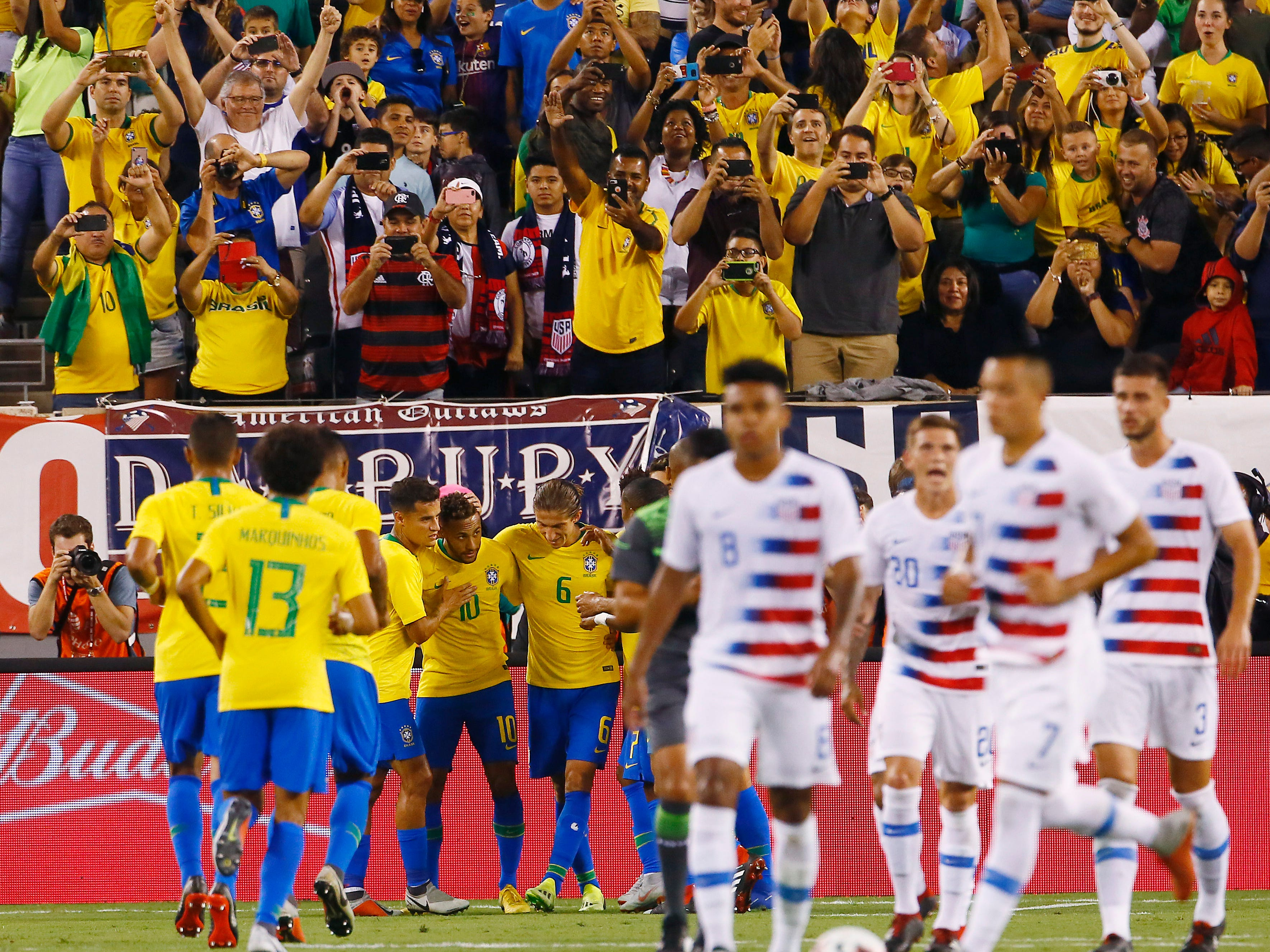 Brazil celebrates after Neymar put in a PK vs. US Men's National team goalkeeper Zack Steffen during their international friendly at MetLife Stadium in East Rutherford, N.J. The US was defeated 2-0 by the five-time World Cup champions. September 7, 2018, East Rutherford, NJ