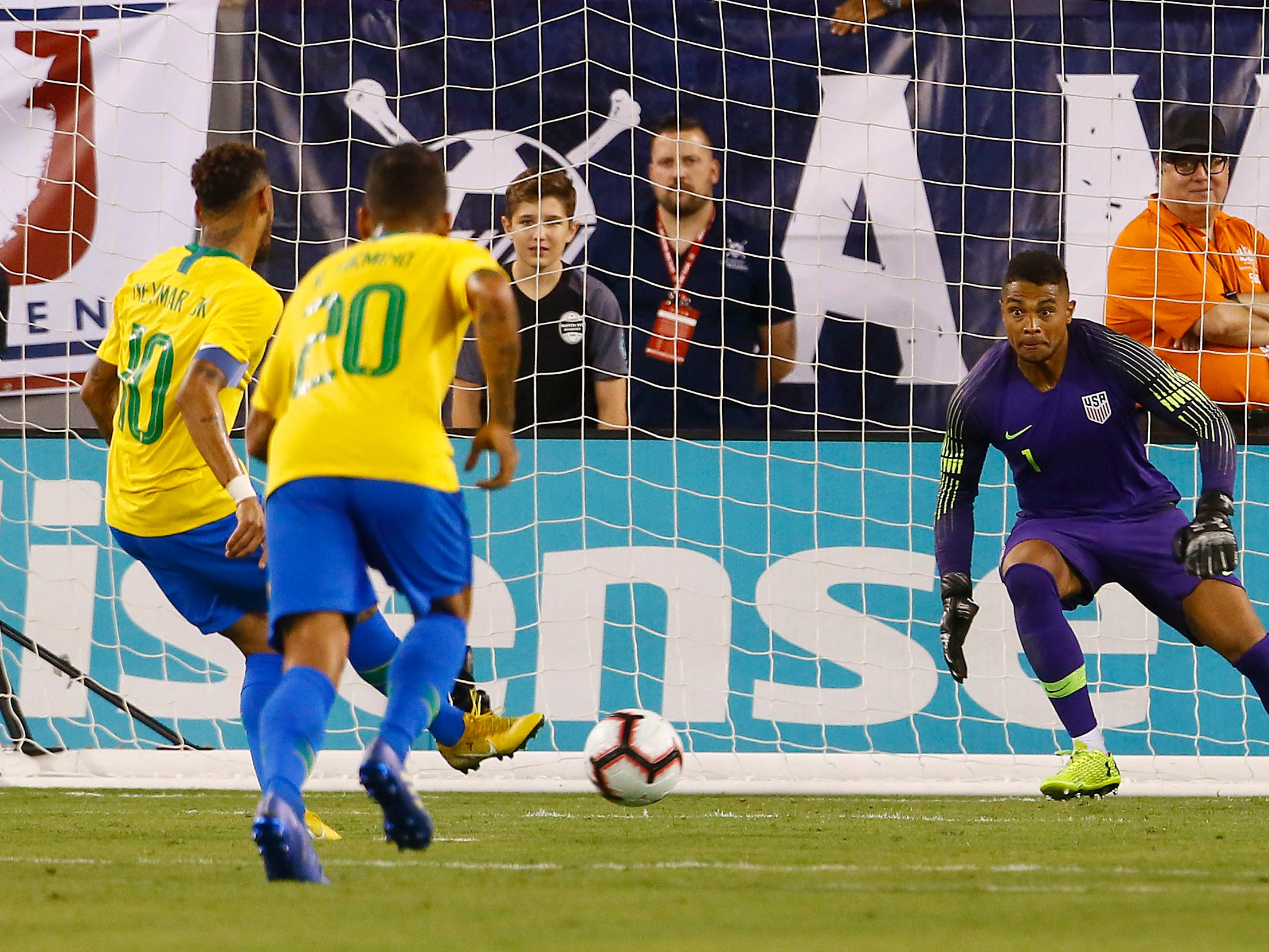 Brazil's Neymar puts in a PK vs. US Men's National team goalkeeper Zack Steffen during their international friendly at MetLife Stadium in East Rutherford, N.J. The US was defeated 2-0 by the five-time World Cup champions. September 7, 2018, East Rutherford, NJ