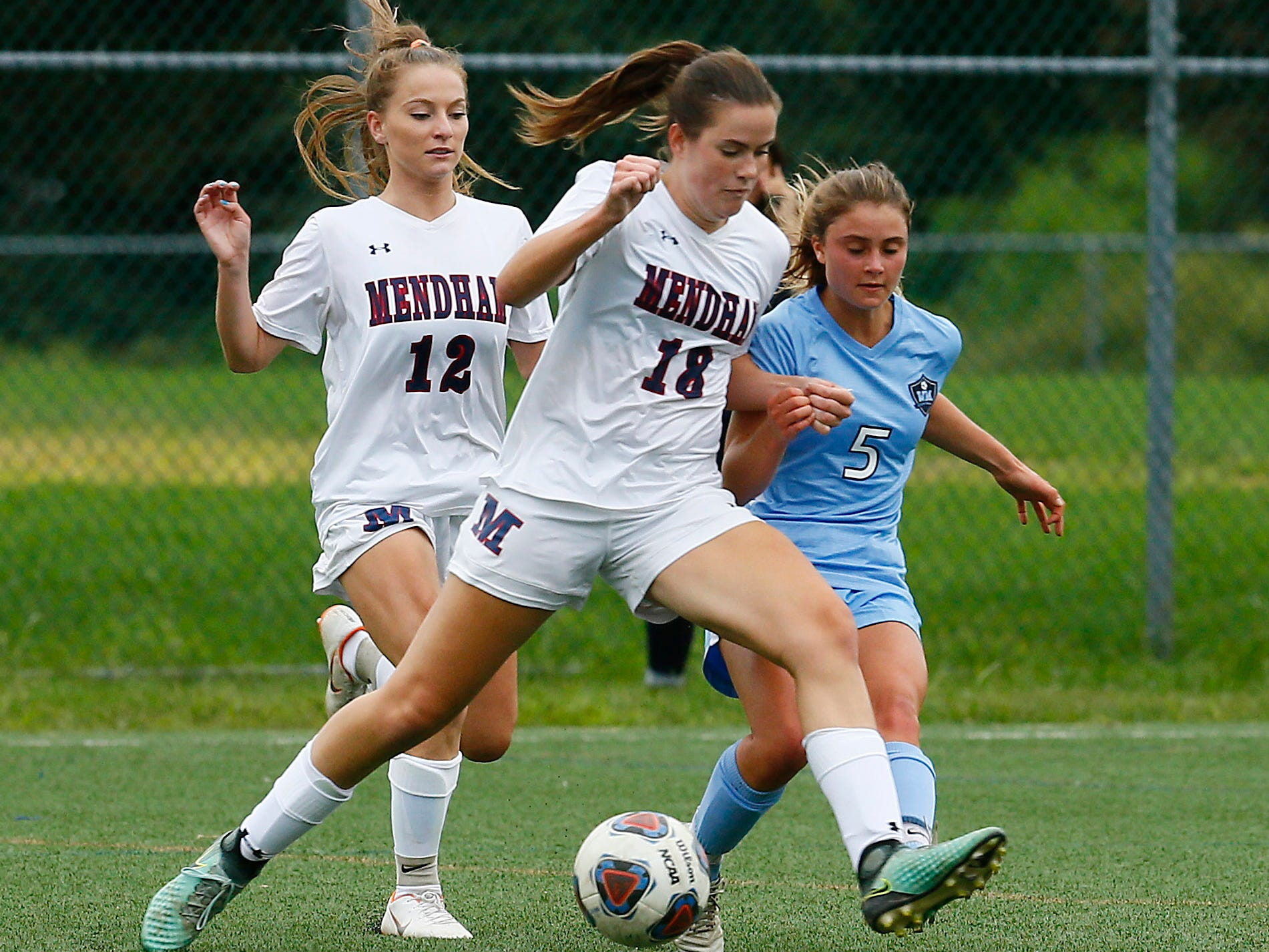 Mendham's Michelle Fanelli controls the ball vs. West Morris during their NJAC-American girls soccer match. September 19, 2018, Mt Olive, NJ