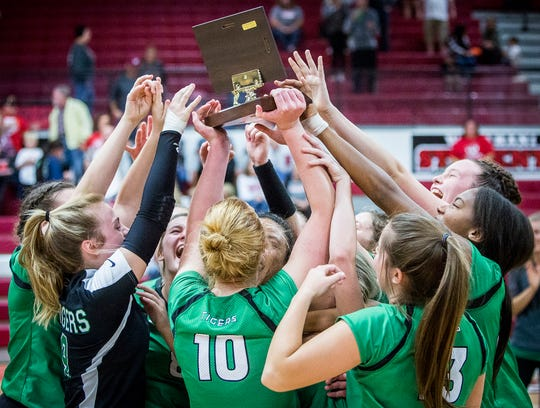 Yorktown's celebrates defeating Wapahani 3-0 during their county championship game at Wapahani High School Saturday, Sept. 29, 2018.