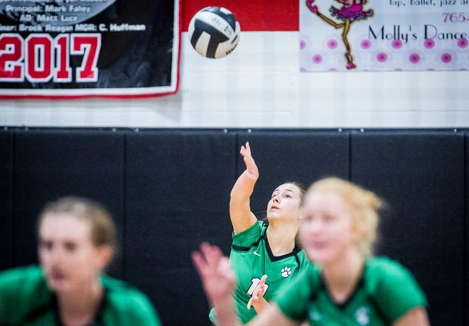 FILE -- Yorktown's Hannah Avila serves during the Delaware County Championship game at Wapahani Saturday, Sept. 29, 2018. This year, Avila was awarded the Delaware County Athletic Hall of Fame's Francis Lafferty Hall of Fame Scholarship.