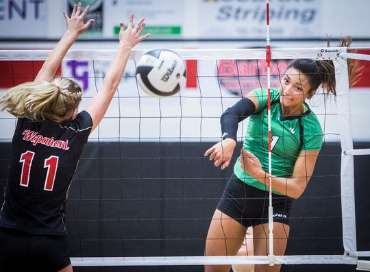 FILE -- Former Yorktown volleyball star Kenzie Knuckles competes against Wapahani during a game during her high school career with the Tigers. Knuckles is now a freshman at Nebraska.