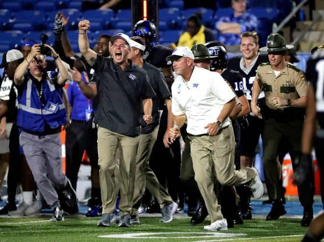 MTSU head football coach Rick Stockstill reacts to the 25-24 win over FAU before running on the field to shake the hand of FAU coach Lane Kiffin, on Saturday, Sept. 29, 2018.