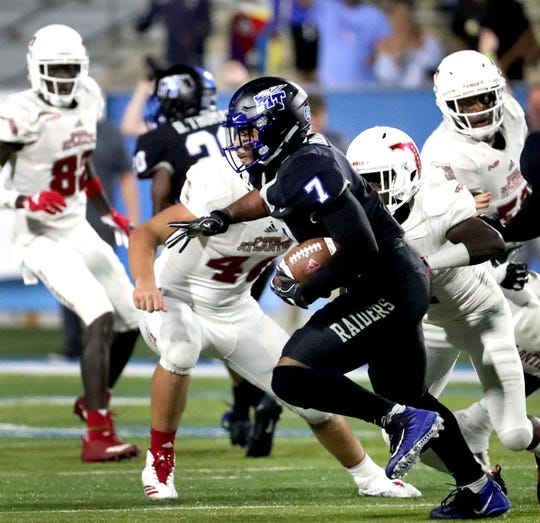 MTSU safety Jovante Moffatt (7) intercepts a pass to seal a win over FAU last season.