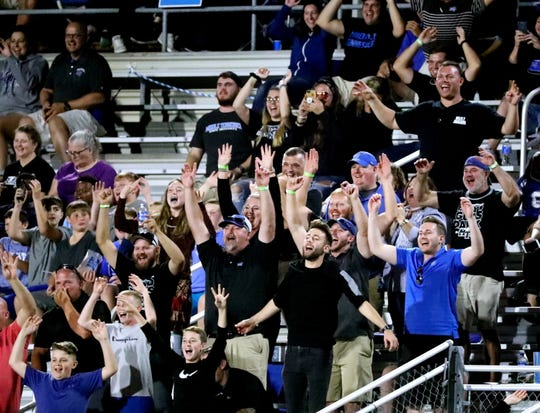 MTSU fans got out of their seats to cheer on the football team late in the 4th quarter of the game against FAU, when MTSU was only down by 7 points on Sept. 29.