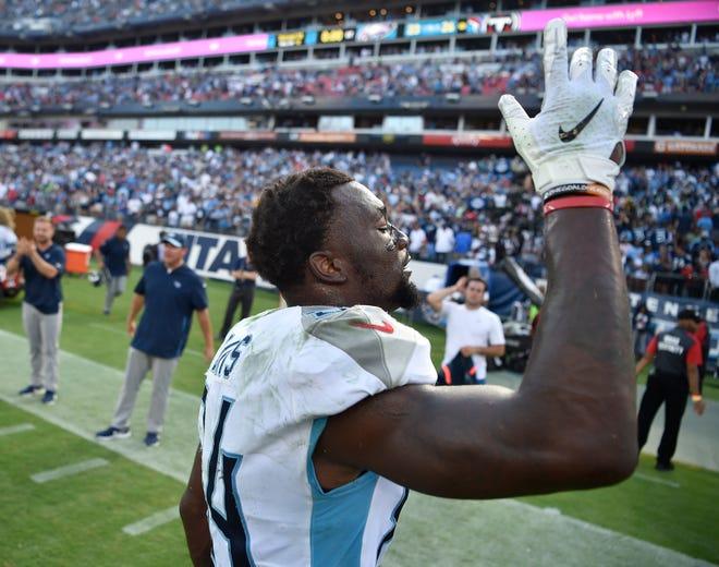 Titans wide receiver Corey Davis celebrates the team's win over the Eagles on Sunday.