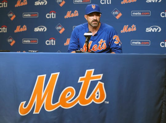 Sep 30, 2018; New York City, NY, USA; New York Mets manager Mickey Callaway addresses the media during a press conference prior to a game against the Miami Marlins at Citi Field.