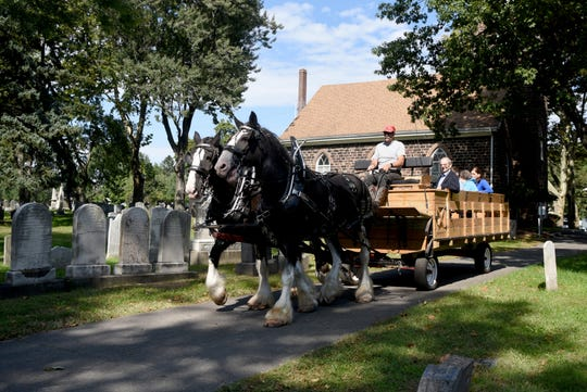 The English Neighborhood Reformed Church of Ridgefield celebrated their 250th anniversary with a service, lunch and fellowship on Sunday, September 30, 2018. The congregation was established in 1768, while the building they worship in was built in 1793. Clydesdale horses gave wagon rides in around the church's cemetery.