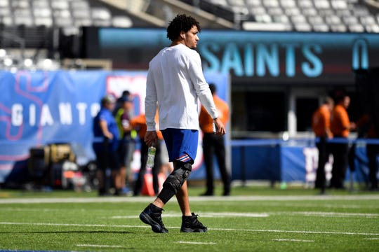 New York Giants tight end Evan Engram walks with a brace on his right knee after spraining his MCL in Houston. Engram will not play against the New Orleans Saints in Week 4 on Sunday, September 30, 2018 in East Rutherford, NJ.