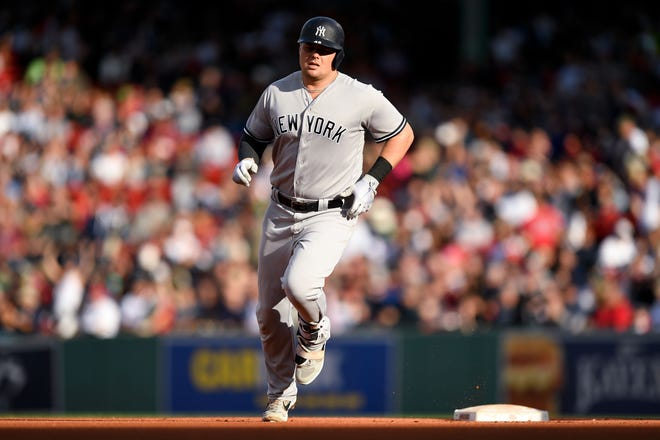 Sep 30, 2018; Boston, MA, USA; New York Yankees first baseman Luke Voit (45) runs to third base after hitting a home run against the Boston Red Sox during the fourth inning at Fenway Park.