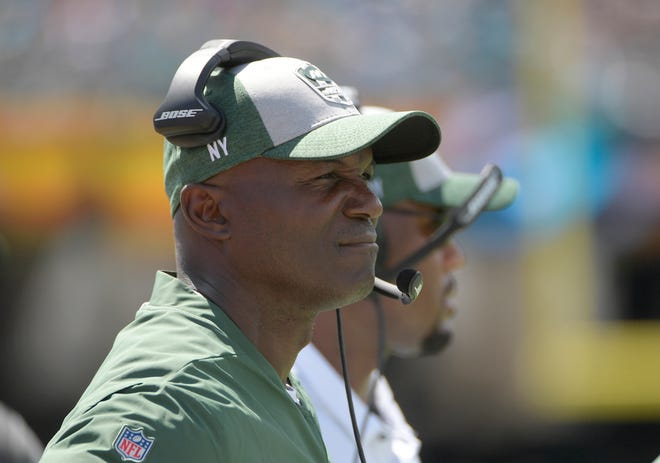 New York Jets head coach Todd Bowles during the first half of an NFL football game against the Jacksonville Jaguars, Sunday, Sept. 30, 2018, in Jacksonville, Fla. (AP Photo/Phelan M. Ebenhack)