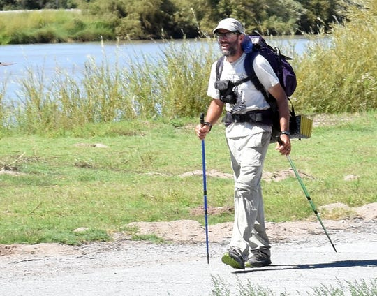 Pete Livingstone arrives by himself Sunday, Sept. 23, 2018, at La Llorona Park after nearly completing a 500-mile hike along the Rio Grande from the Colorado-New Mexico border south to the Texas-New Mexico border.