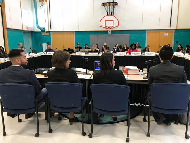 A panel of lawyers testifies before a legislative committee about their recommendations following a landmark court decision regarding public education during a committee hearing in Albuquerque on Wednesday, Sept. 26, 2018.