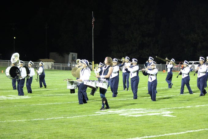 Warriors marching band at half time entertains spectators.