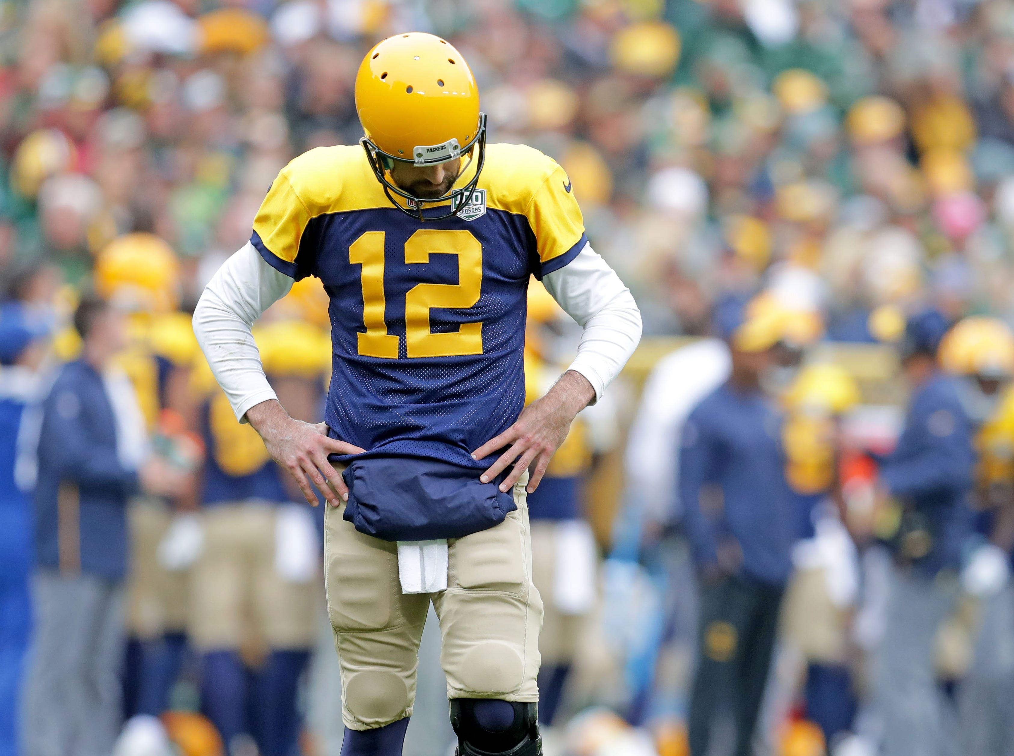 Green Bay Packers quarterback Aaron Rodgers (12) is dejected after a broken up pass during the first quarter of the Green Bay Packers game against the Buffalo Bills at Lambeau Field in Green Bay, Wis. on Sunday, September 30, 2018. Mike De Sisti /USA TODAY NETWORK-Wisconsin