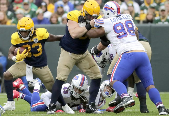 Green Bay Packers running back Aaron Jones against the Buffalo Bills on Sunday, September 30, 2018, at Lambeau Field in Green Bay, Wis.  Wm. Glasheen/USA TODAY NETWORK-Wisconsin.