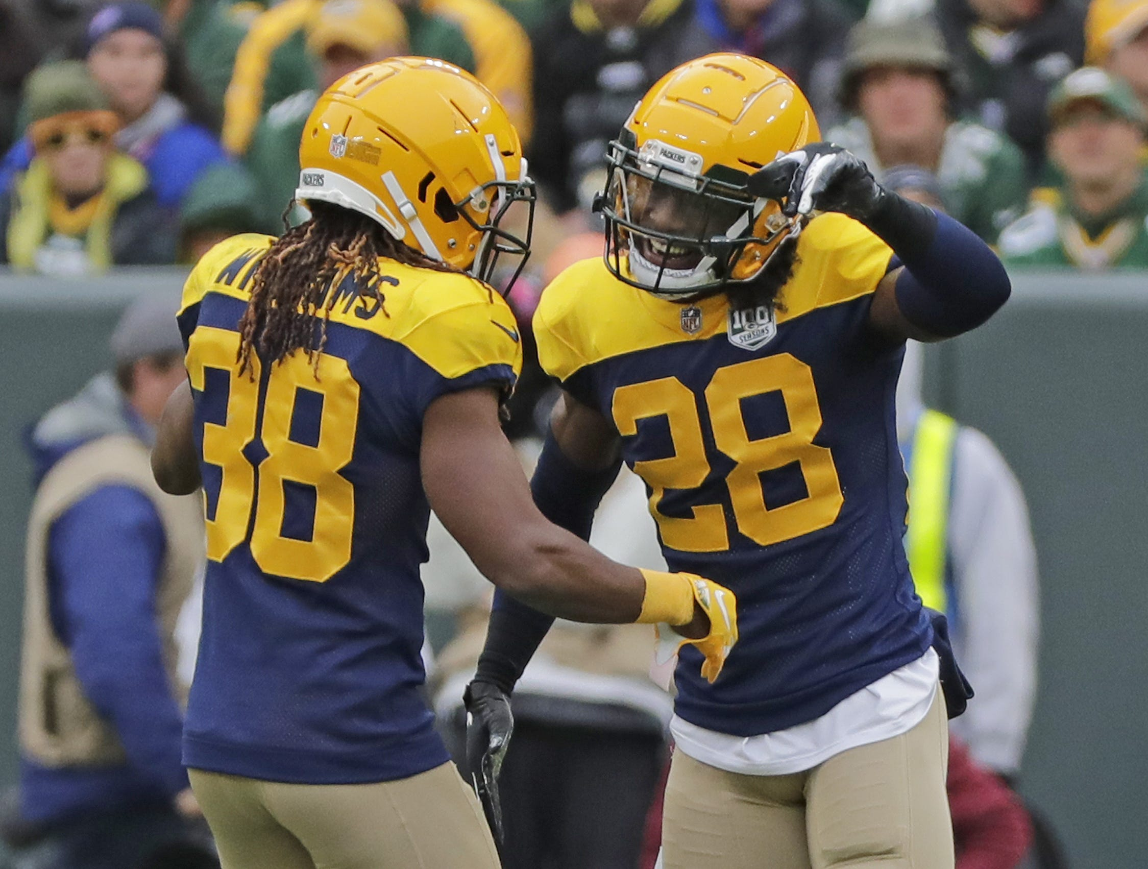 Green Bay Packers defensive back Tramon Williams (38) and cornerback Tony Brown (28) react during the second half against the Buffalo Bills at Lambeau Field on Sunday, September 30, 2018 in Green Bay, Wis. Adam Wesley/USA TODAY NETWORK-Wisconsin