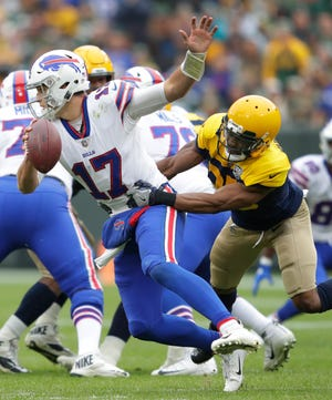 Green Bay Packers defensive back Jermaine Whitehead (35) sacks Buffalo Bills quarterback Josh Allen (17) in the third quarter during their football game Sunday, Sept. 30, 2018, at Lambeau Field in Green Bay, Wis. Dan Powers/USA TODAY NETWORK-Wisconsin