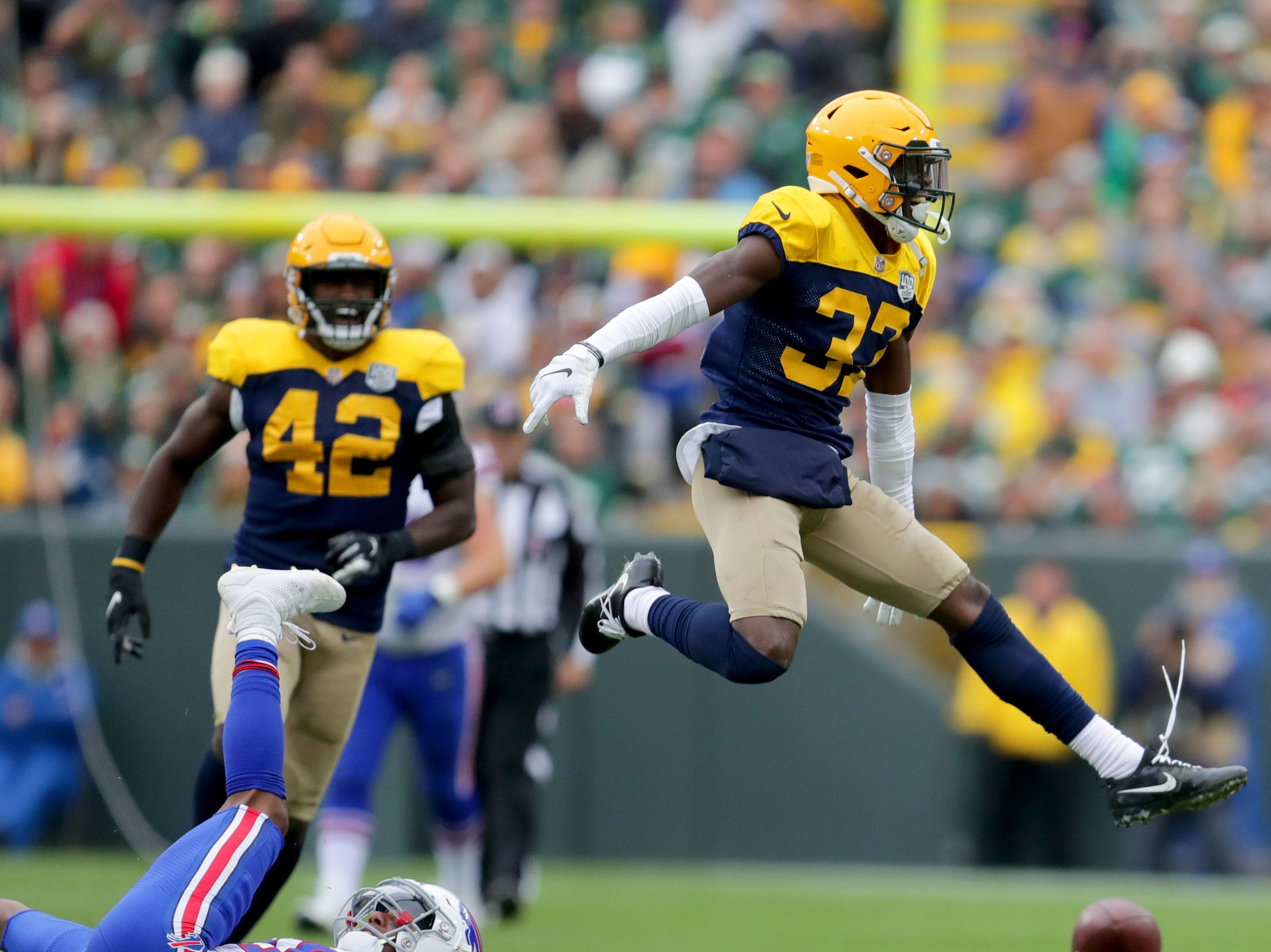 Green Bay Packers cornerback Josh Jackson (37) celebrates after breaking up a pass during the 4th quarter of the Green Bay Packers 22-0 win against the Buffalo Bills at Lambeau Field in Green Bay, Wis. on Sunday, September 30, 2018. Mike De Sisti /USA TODAY NETWORK-Wisconsin
