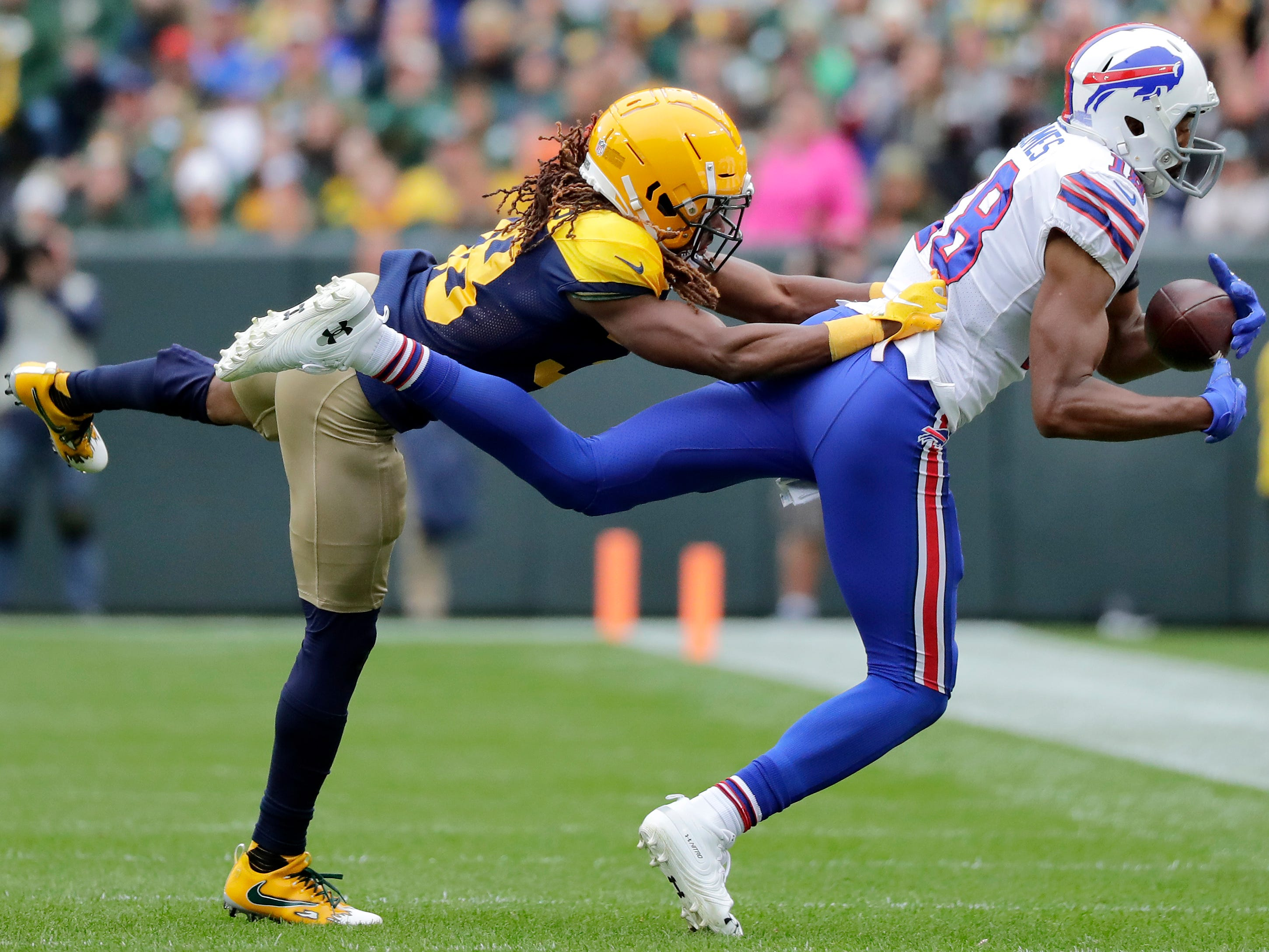 Green Bay Packers defensive back Tramon Williams defends Buffalo Bills wide receiver Andre Holmes on Sunday, September 30, 2018, at Lambeau Field in Green Bay, Wis. 