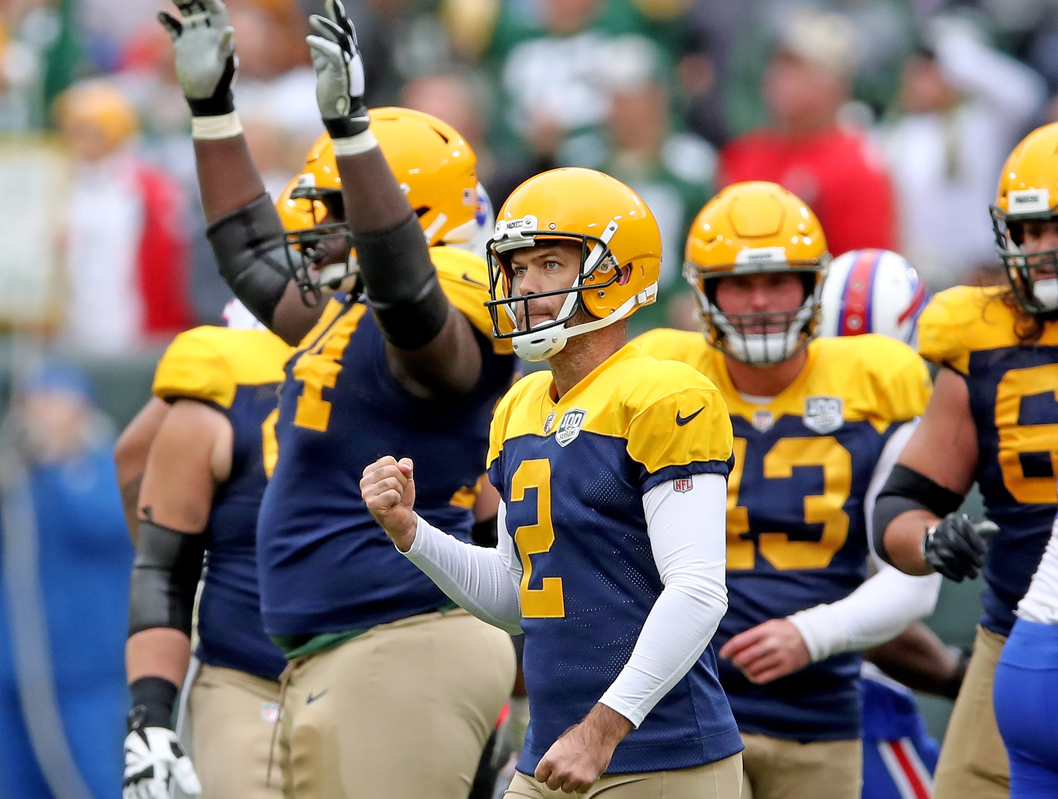 Green Bay Packers kicker Mason Crosby (2) celebrates his 52 yard field goal against the Buffalo Bills Sunday September 30, 2018 at Lambeau Field in Green Bay, Wis.