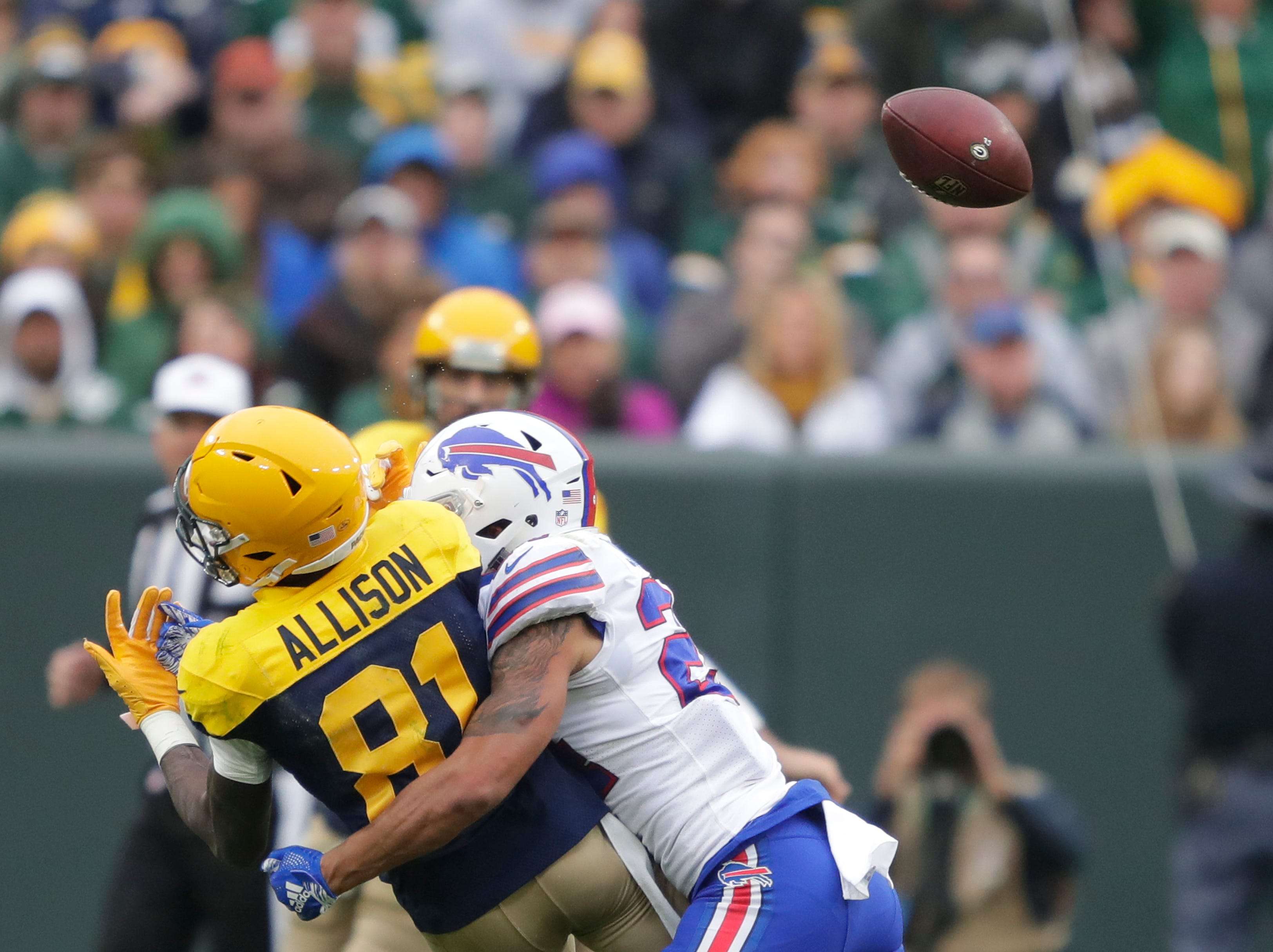 Green Bay Packers wide receiver Geronimo Allison (81) is hit by Buffalo Bills cornerback Taron Johnson (24) during their football game Sunday, Sept. 30, 2018, at Lambeau Field in Green Bay, Wis. Allison had to leave the game after the play.Dan Powers/USA TODAY NETWORK-Wisconsin