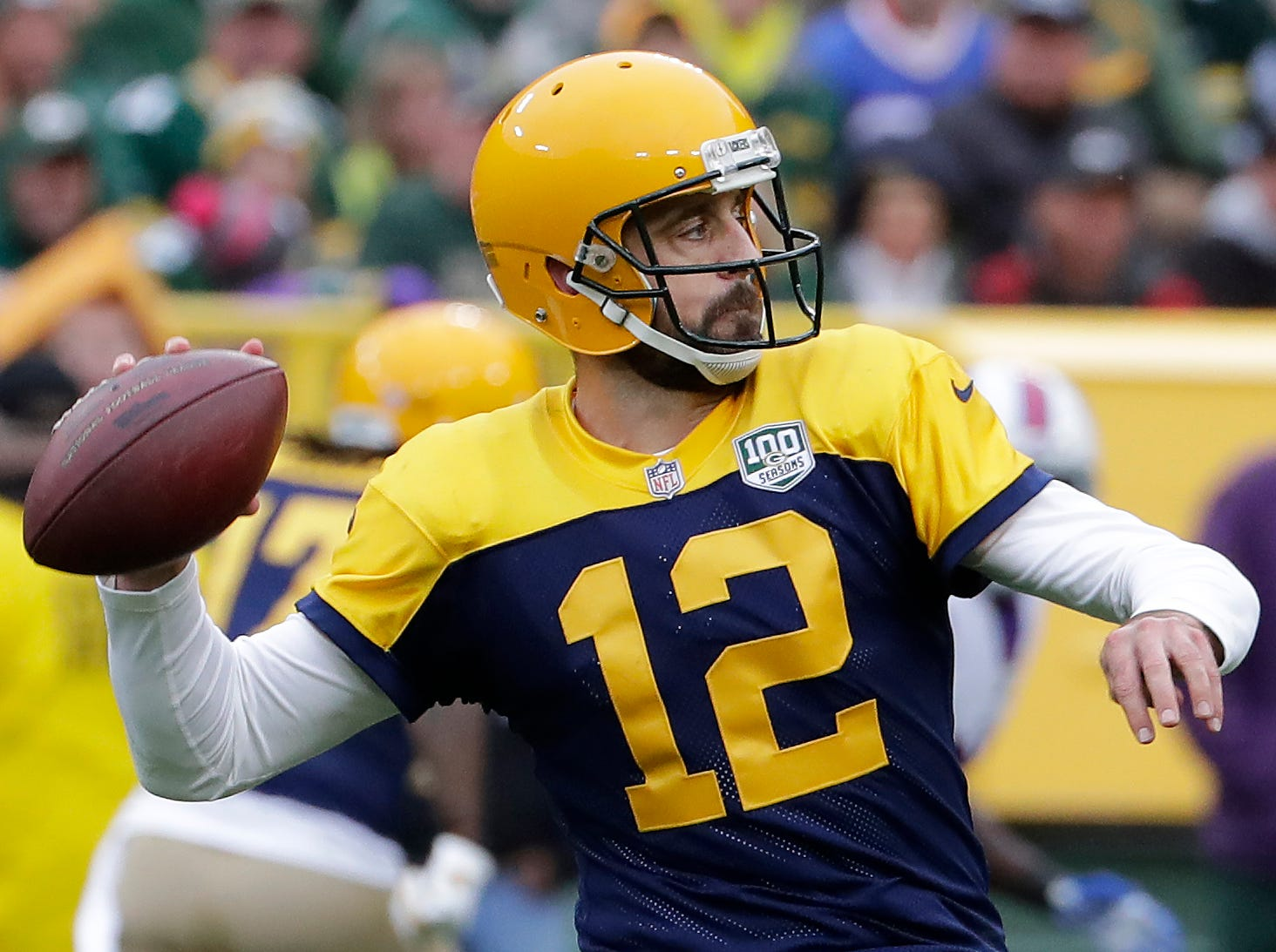 Green Bay Packers quarterback Aaron Rodgers in the second quarter against the Buffalo Bills on Sunday, September 30, 2018, at Lambeau Field in Green Bay, Wis. Wm. Glasheen/USA TODAY NETWORK-Wisconsin.